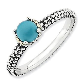 2.5mm Sterling Silver Polished Prong set Antique finish and 14k Stackable Expressions Simulated Turquoise Antiqued Ring