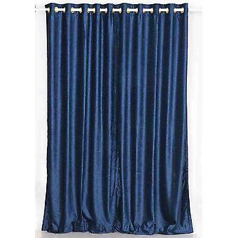 Navy Blue Ring / Grommet Top  Velvet Curtain / Drape / Panel  - Piece