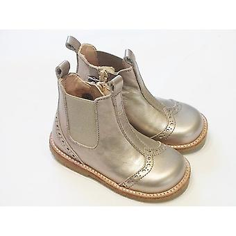 Angulus Angulus 6024-101 Girls Brogue Chelsea Boots In Metallic Copper Leather