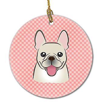 Carolines Schätze BB1238CO1 Schachbrett rosa französische Bulldogge Keramik Ornament