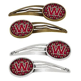 Lettera W calcio Garnet e oro Set di 4 clip per capelli Barrettes