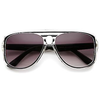 Gafas de sol de aviador moderno translúcido marco cerradura Flat Top Square 46mm