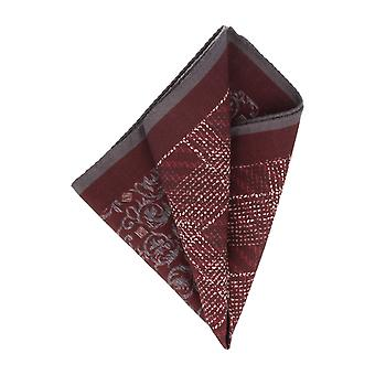OTTO KERN handkerchief Pochette Bordeaux red floral vines pattern handkerchief