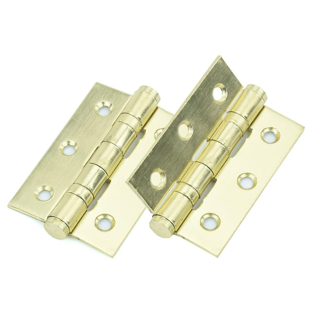 Premium Quality M4TEC ZD4 Electro Brass Coloured Steel Interior Butt Door Hinge - Sturdy, Durable & Easy To Install – Button Tipped With 2 Ball Race Bearings – Ideal For General Joinery & Furniture. 2pcs