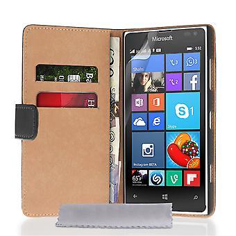 Caseflex Microsoft Lumia 532 Real Leather Wallet Case - Black