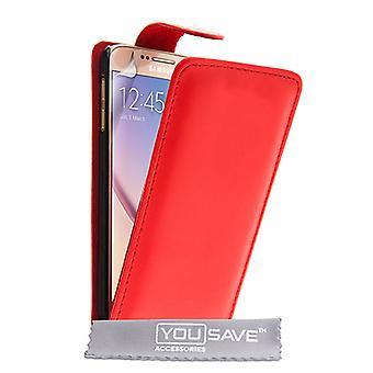 Yousave Zubehör Samsung Galaxy S6 Leder-Effekt Flip Case - rot