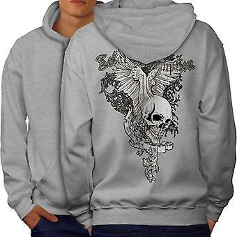 Total Coolest Skull Men GreyHoodie Back | Wellcoda