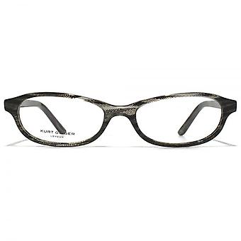 Kurt Geiger Abigail Classic Petite Oval Acetate Glasses In Grey Zig-Zag Stripe