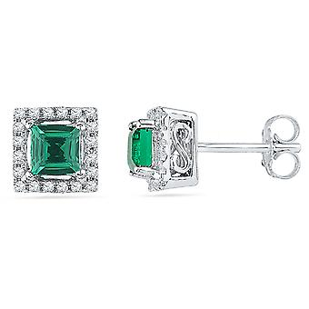 Princess Cut Lab Created Emerald 3/4 Carat (ctw) Solitaire Stud Earrings in 10K White Gold with Diamonds 1/8 Carat (ctw