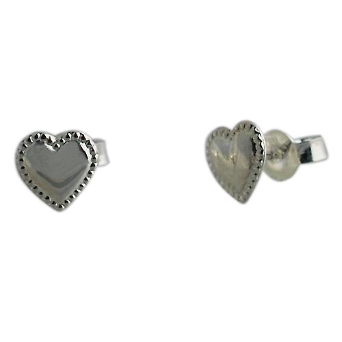 Silver 8x8mm bead edge heart shaped stud Earrings