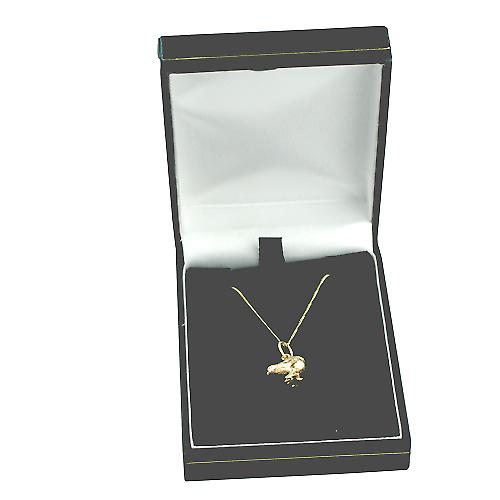 9ct Gold 14x12mm Chick with Curb chain