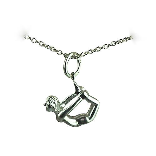 Silver 13x15mm Bow Pose Yoga Position Pendant with a rolo Chain 16 inches Only Suitable for Children