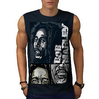 Marley Bob Jamaican Men NavySleeveless T-shirt | Wellcoda