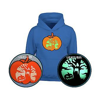 Halloween Spooky Scene GLOW IN THE DARK Pumpkin Kids Hoodie 10 Colours (S-XL) by swagwear