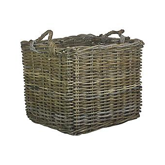 Quadrat Medium Grau Rattan Log Korb
