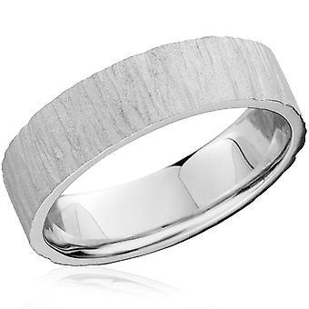 6 мм плоская Мужская 10K белого золота текстурированной обручальное кольцо