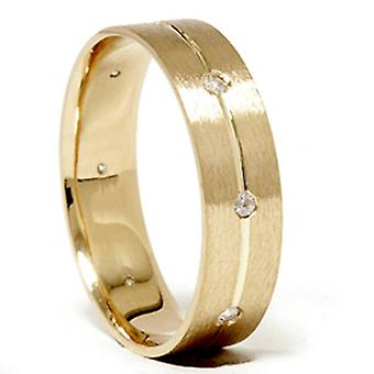 Mens Comfort Fit Lünette Diamant Ehering Gold Band