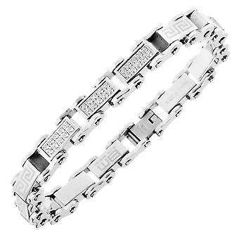 Master stainless steel micro pave CZ bracelet - 10mm silver
