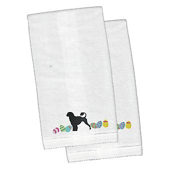 Portuguese Water Dog Easter White Embroidered Plush Hand Towel Set of 2