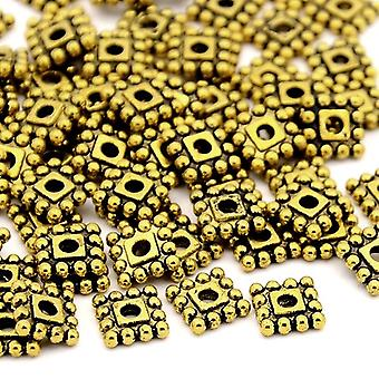 Packet 20 x Antique Gold Tibetan 7mm Square Spacer Beads HA15335