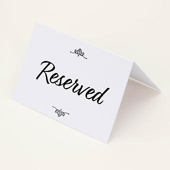 Reserved Wedding Card Set of 4 RESERVED signs White & Black Traditional