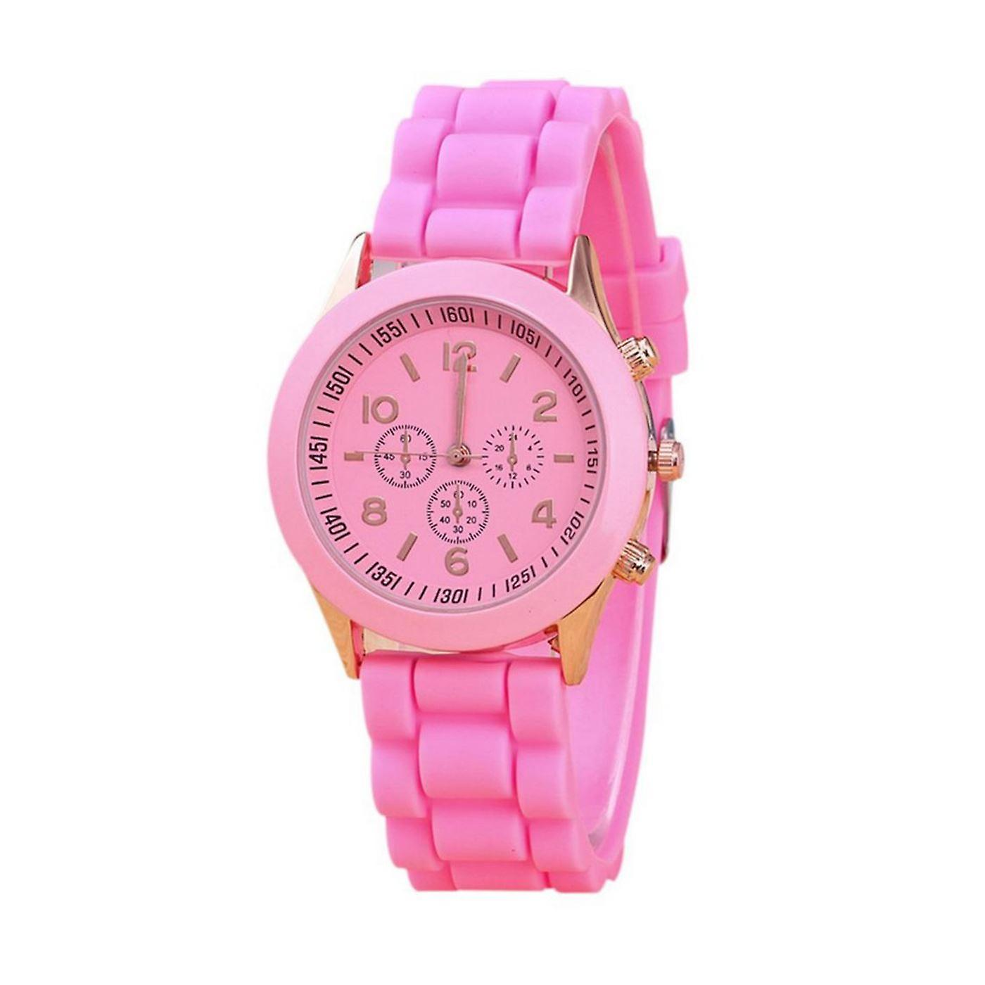 Luxury Ladies Girls Watch Pink Rose Gold Silicone Jelly Strap