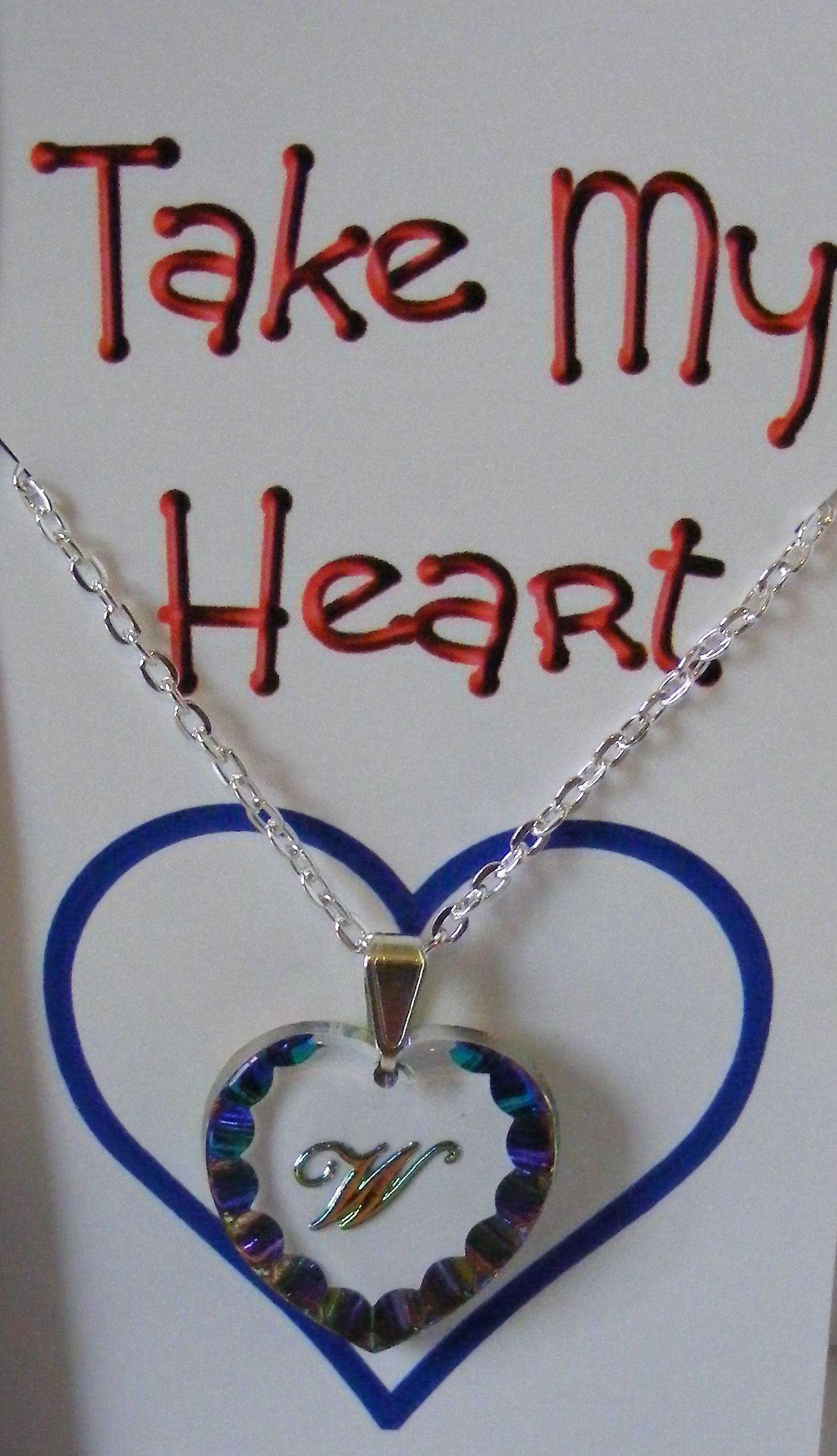 Heliotrope Initial Heart Crystal Pendant - W