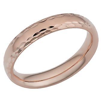 14k Rose Gold Diamond Cut 4mm Wide Wedding Band Ring