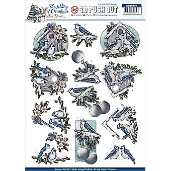 Find It Amy Design The Feeling Of Christmas Punchout Sheet-Christmas Birds