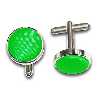 Apple Green Plain Satin Cufflinks