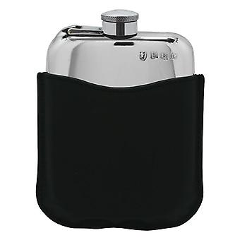 Plain Polished Pewter Purse Flask With Captive Top In Black Leather Pouch - 6oz