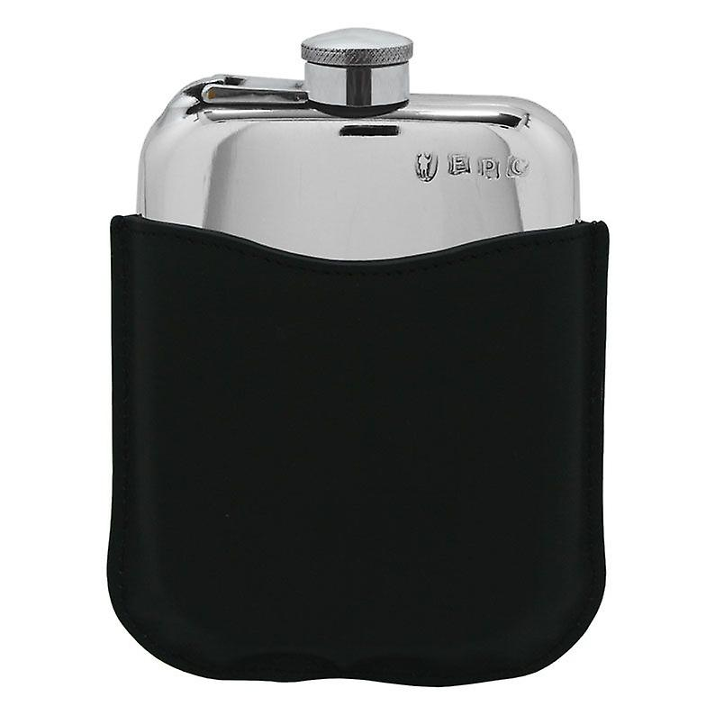 Plain Polished Pewter bourse Flask With Captive Top In noir cuir Pouch - 6oz