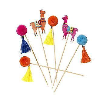 Boho Pom Pom Picks Llama Set of 12 Fun Food Flags