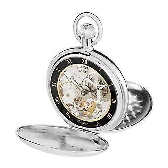Woodford Double Hunter Skeleton Swiss Pocket Watch - Silver