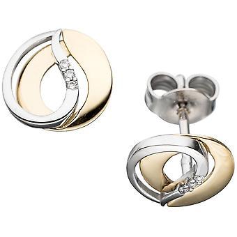 Ohrringe Ohrstecker 585 Gold Gelbgold Weißgold bicolor 6 Diamanten Brillanten