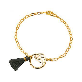 YOGA - grape leaves - tassel - grey - gold-plated ladies - bracelet - 925 Silver-