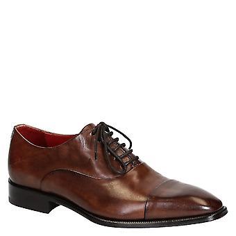 Men's oxfords cap toe shoes in brandy color leather