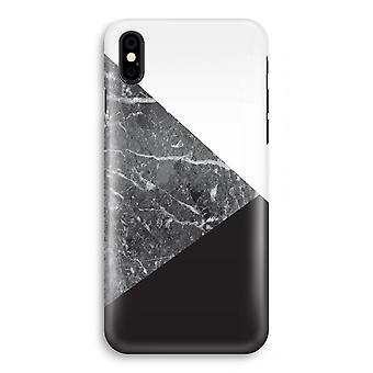 iPhone XS Full Print Case (glanset) - marmor kombinasjon