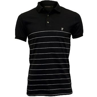 French Connection Striped Pique Polo Shirt, Navy/white