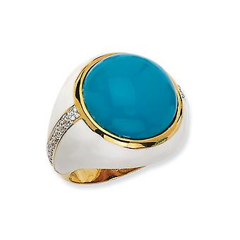 Gold-Flashed Sterling Silver Enamel Wht Enam Simulated Turquoise and Cubic Zirconia Ring - Ring Size: 6 to 7