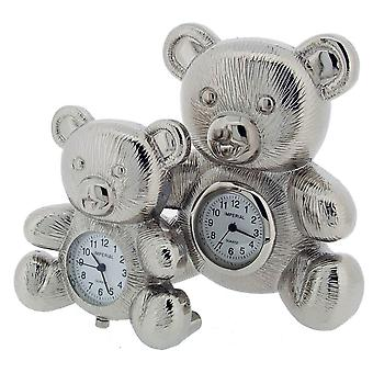 Gift Time Products Bear and Baby Bear Mini Clock - Silver