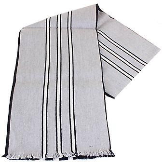 Bassin and Brown Eusebio Striped Reversible Wool Scarf - Grey/Black