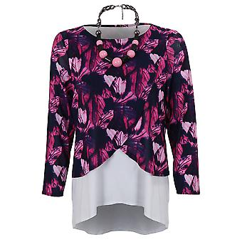 Ladies Long Sleeve Layered Semi Sheer Mesh Lined High Low Floral Blouse Top