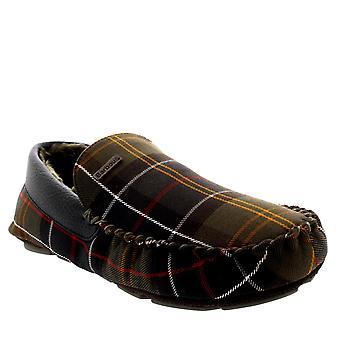 Mens Barbour Monty Moccasin Tartan Slip On Fur Lined Winter Slipper Shoe