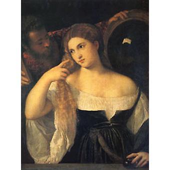 Женщина в ее Туалет, Тициан, 40 x 50 см