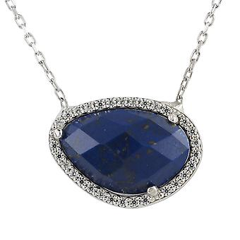 Latelita Dark Blue Lapis Lazuli Gemstone Pendant Necklace Gold Sterling Silver