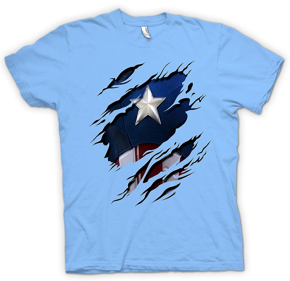 Mens T-shirt - Retro Captain America Super Hero Ripped Design