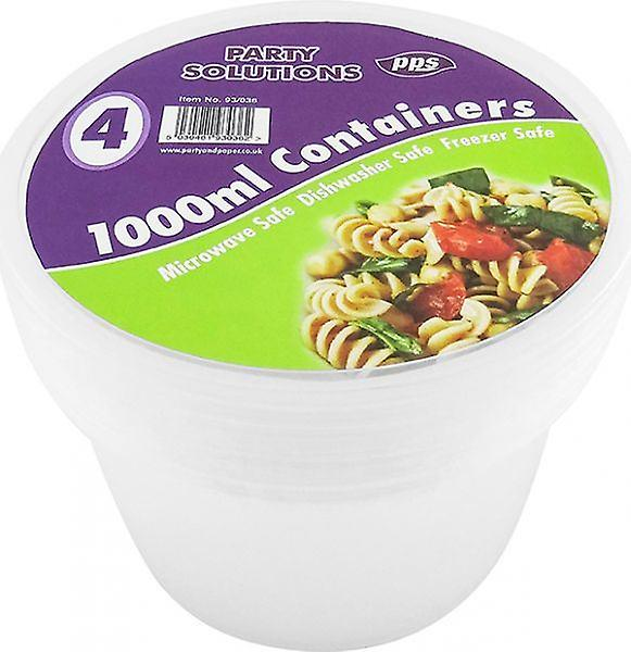 Pack of 4 Food Storage Container With Lid Round 1000ml Kitchen Essential