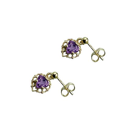 9ct Gold 11x7mm filigree heart Dropper Earrings set with Amethyst
