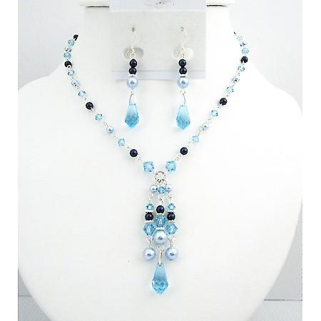 Lite Blue Dark Blue Pearls Aquamarine Crystals Prom Swarovski Jewelry